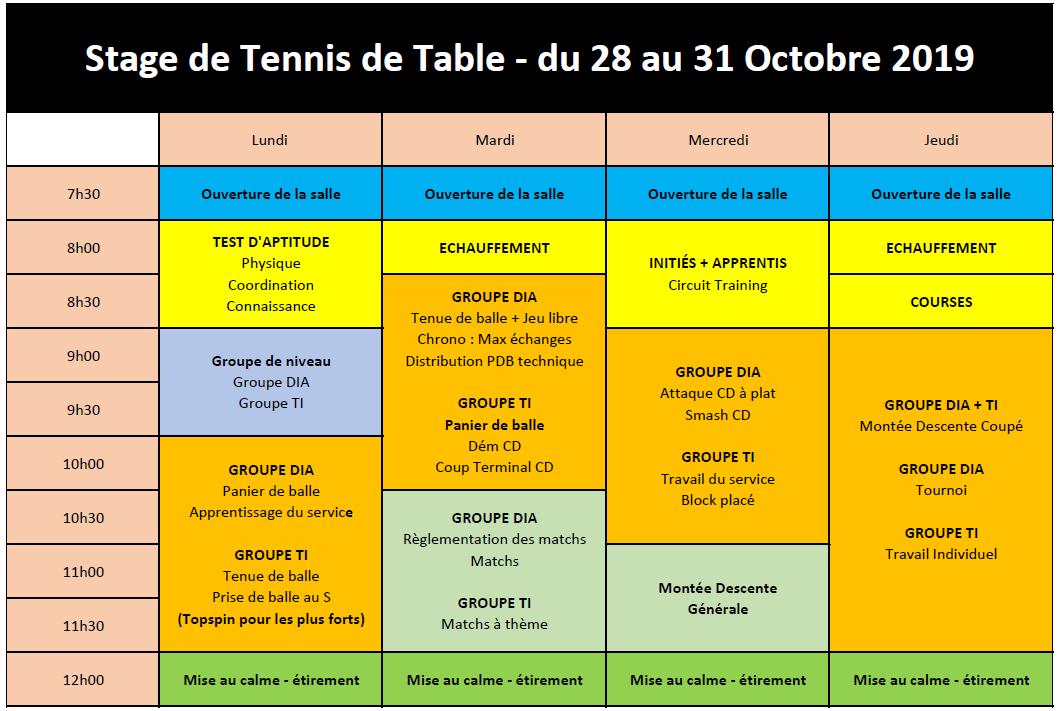 Planning 28 au 31 Oct 2019 - Stage Ouvert à tous