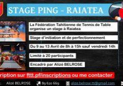 Stage ping Raiatea - du 09.04 au 13.04